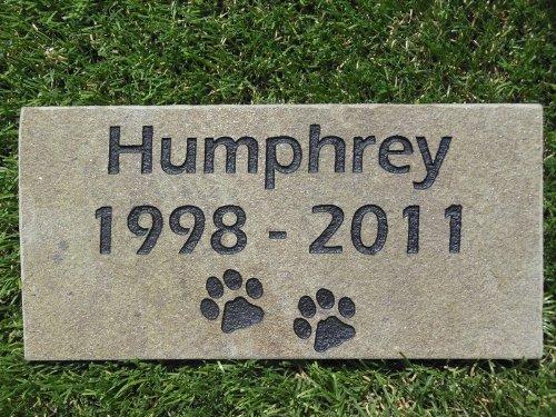 Sandblast Engraved Grey Stone Pet Memorial Headstone Grave Marker Dog Cat nd 4x8 by GraphicRocks