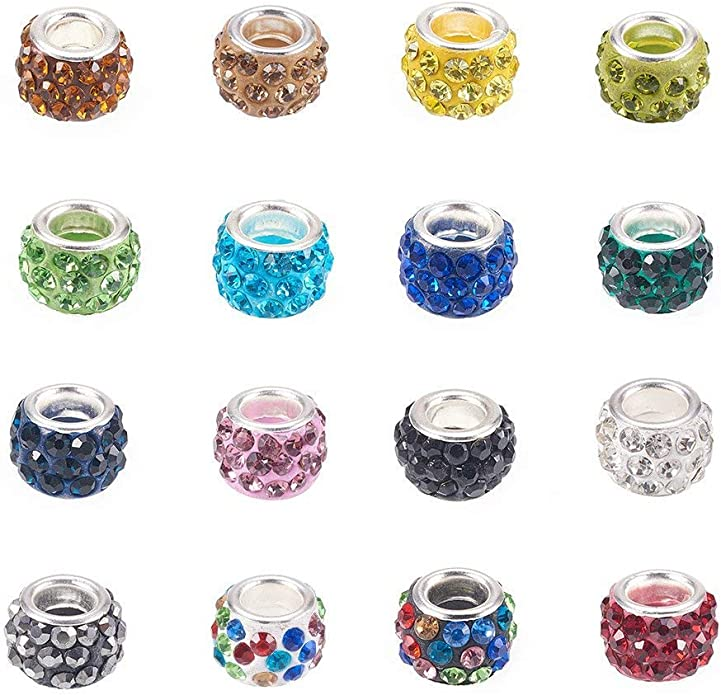 100Pcs Glass European Beads Large Hole Beads Rondelle Mixed Color for Jewelry