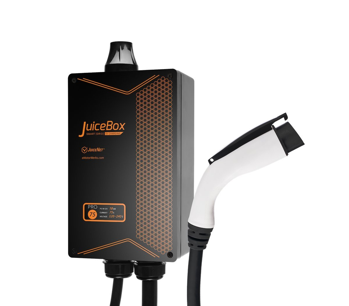 JuiceBox Pro 75A WiFi-equipped Plug-in Electric Vehicle Charger / Charging Station with 24-foot cable and THHN Input Whip for Hardwire