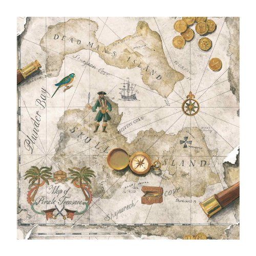 Flag Battle Square (York Wallcoverings BT2815 Antique Fauby Leather Pirate Map, Linen Sand/Turquoise Green/Chocolate Brown)