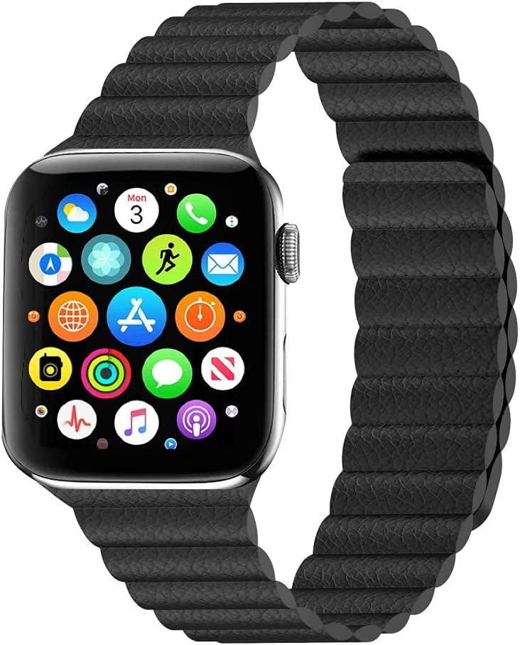 Black Magnetic Leather Band for Apple Watch - 42/44mm Wrists Fits for 6.5 - 8.6 Inch (165mm - 220mm) Compatible With Series SE, 6, 5, 4, 3, 2, 1