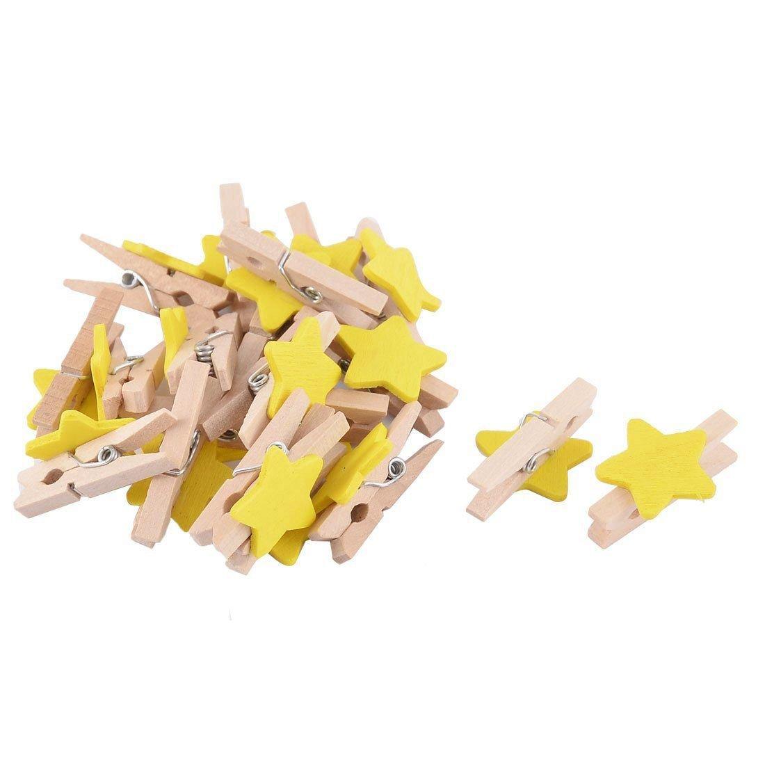 TOOGOO(R) Star Pattern Card Photo Paper Spring Peg Mini Wooden Clip 20pcs Yellow