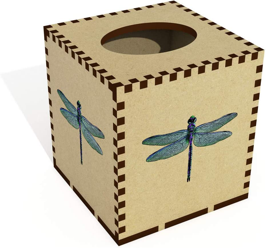 Azeeda Square Dragonfly Wooden Tissue Box Cover TB00042388
