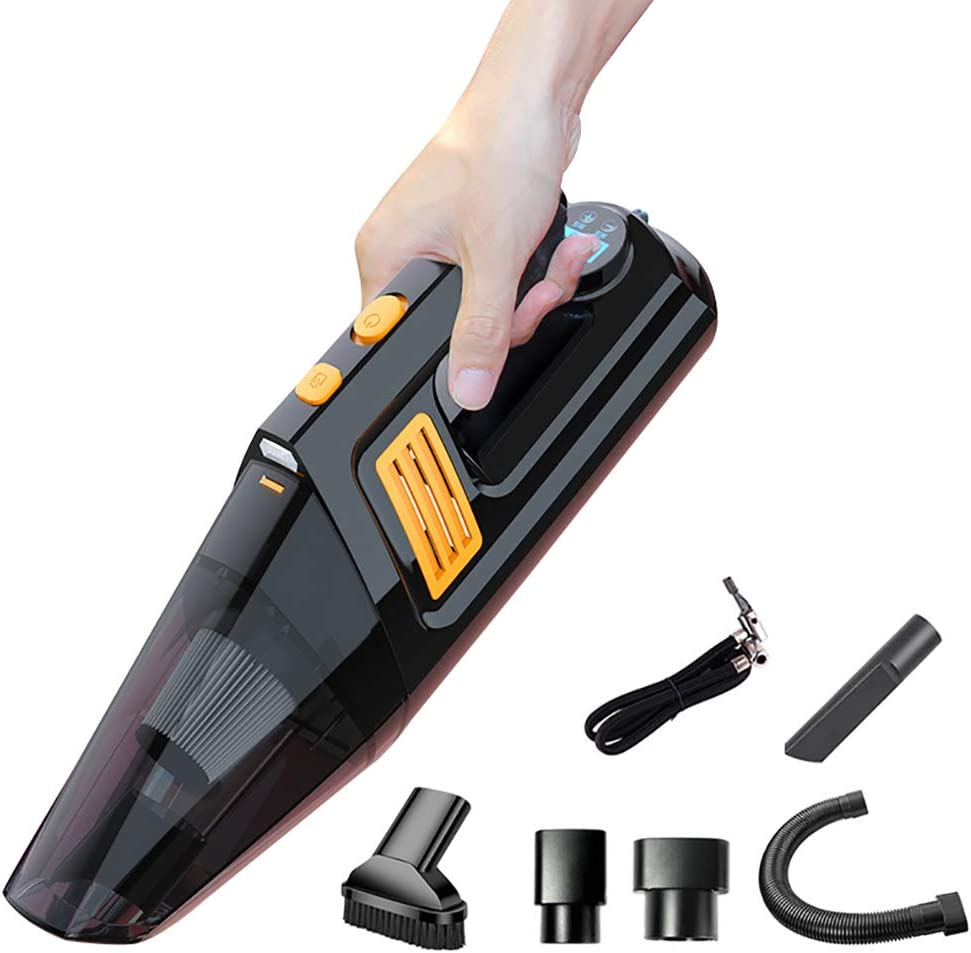 HAJZF Portable Tire Inflator, Digital Display 5000Pa 4 in 1 Car Vacuum Cleaner Wireless Hand Held Car Vacuum Cleaner Wet and Dry with Tire Pressure Gauge, LED Light