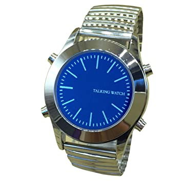 Reloj Parlante en Español para Invidentes o Personas Mayores Azul Dial, Banda Expandible: Amazon.es: Deportes y aire libre