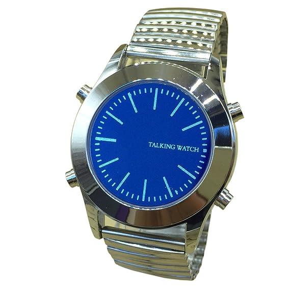 Esfera Azul Alemán Reloj de pulsera parlante Voice Time Acero Inoxidable para impedidos & # xff0