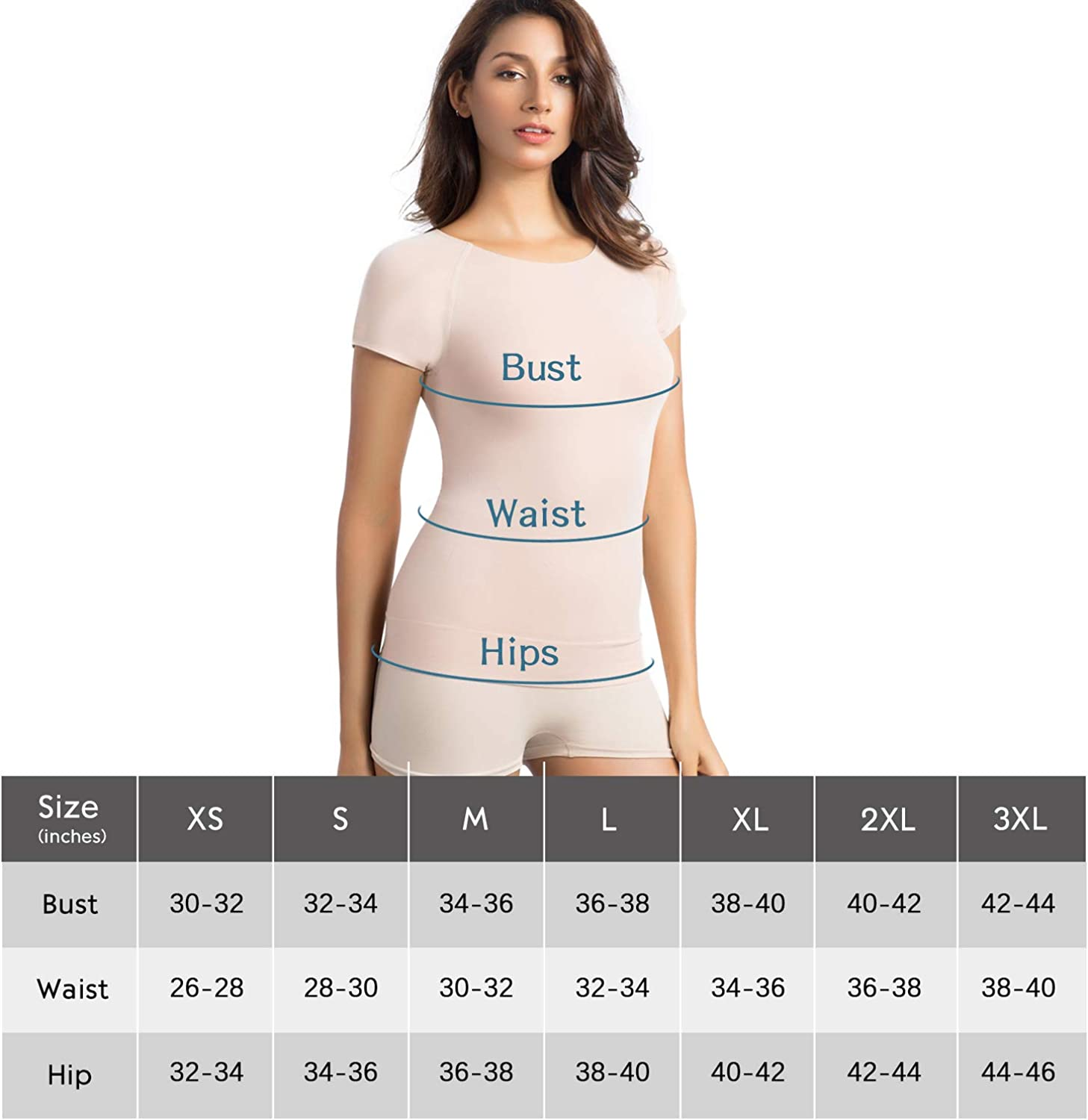 +MD Womens Bamboo T-Shirt Crewneck Casual Slim Fit T-Shirt Tank Top Short Sleeve Undershirt Comfort Light Control Shapewear