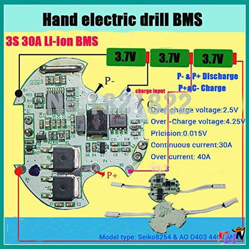 3S 30A BMS PCM li-ion Battery Protection Board for Electric Tools Hand Electric Drill with high Current Temperature Switch! (Pcm Drill)