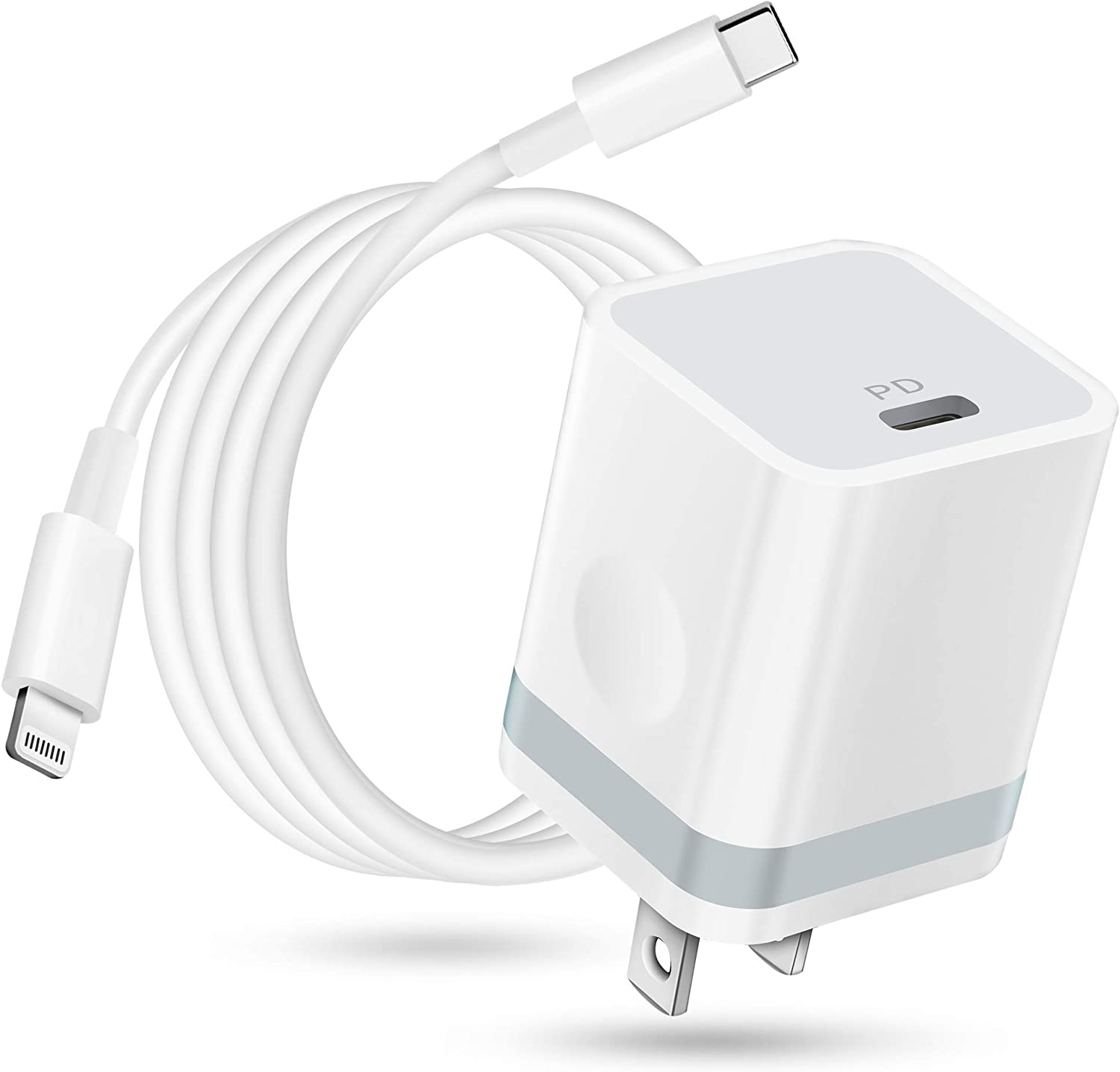 LUOSIKE iPhone 12 Charger MFi Certified, USB C Charger 20W PD Adapter Wall Plug with 6FT USB-C to Lightning Cable Fast Charging for iPhone 12/12 Mini/12 Pro Max/11/XS/XR/X/8/Plus