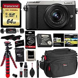 Panasonic LUMIX GX85 4K Mirrorless Interchangeable Lens Camera Kit Silver 12-32mm Lens, Polaroid Filter, Transcend 64 GB, DMW-ZSTRV Lumix Battery & External Charger, Cleaning Kit & Accessory Bundle