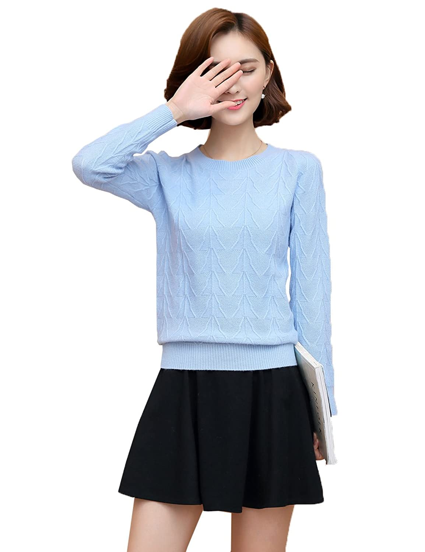XiouliWomen's 100% Cashmere Slim Fit Crewneck Sweater HA002
