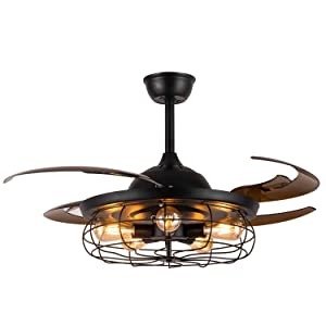 "Moooni 48"" Retractable Blades Industrial Retro Ceiling Fans with Lights and Remote Vintage Caged Chandelier Fans Invisible Chandelier Fan Light Kit for Bedroom Dining room Office Farmhouse Black"