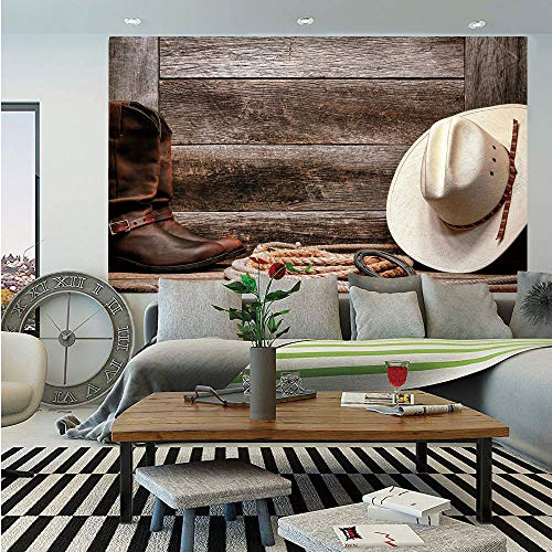 SoSung Western Removable Wall Mural,Authentic American Rodeo Items Lasso Hat Boots Horseshoe Rustic Wooden House Decorative,Self-Adhesive Large Wallpaper for Home Decor 66x96 inches,Brown Cream Tan