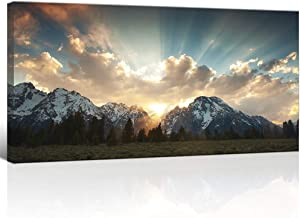 "KLVOS Yellowstone National Park Canvas Wall Art Sunrise Moment Famous American Landscape Artwork Large Motivational Living Room Dinning Room Home Wall Decoration Framed and Ready to Hang 24""x48"""