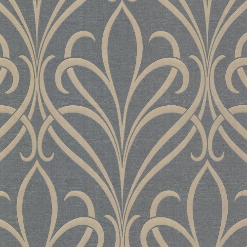 Floral Square Fusion (Decorline 482-Dl31061 Lalique Silver Nouveau Damask Wallpaper, Silver)