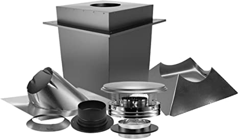 Triple-Wall Basic Through-The-Ceiling Chimney Stove Pipe Vent Kit DuraPlus 6 in
