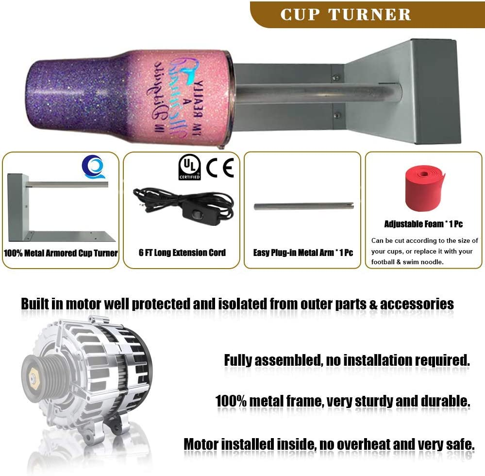 Metal Frame Tumbler Turner Machine Cuptisserie with Silent Balance Steering Shaft Cup Turner for Crafts Tumbler with Wide Voltage Rotisserie Motor Perfect for Glitter Epoxy Tumbler DIY Crafting