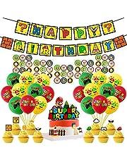 Osugin Super Mario decoratieset, verjaardagsfeest, Super Mario themafeest, verjaardag met Happy Birthday banner taartdeksel latex ballonnen voor Mario decoratieset