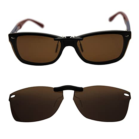 1682637308 oGeee Custom Polarized Clip On Sunglasses for RAY-BAN RB5228 (55mm)  55-17-140 (Brown) - - Amazon.com