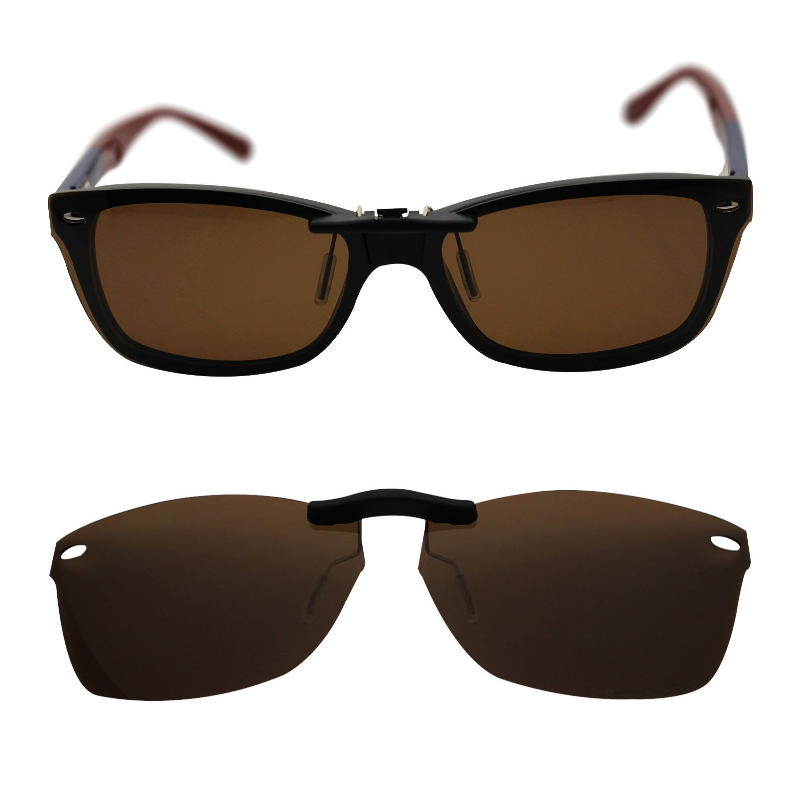 oGeee Custom Polarized Clip On Sunglasses for RAY-BAN RB5228 (55mm) 55-17-140 (Brown)