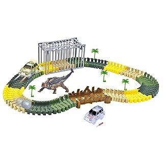 codomoxo Magic Dinosaur World Tracks 144 Pezzi, Flessibile Split Car Car Rails con Dinosauro (con 1 Dinosauro)