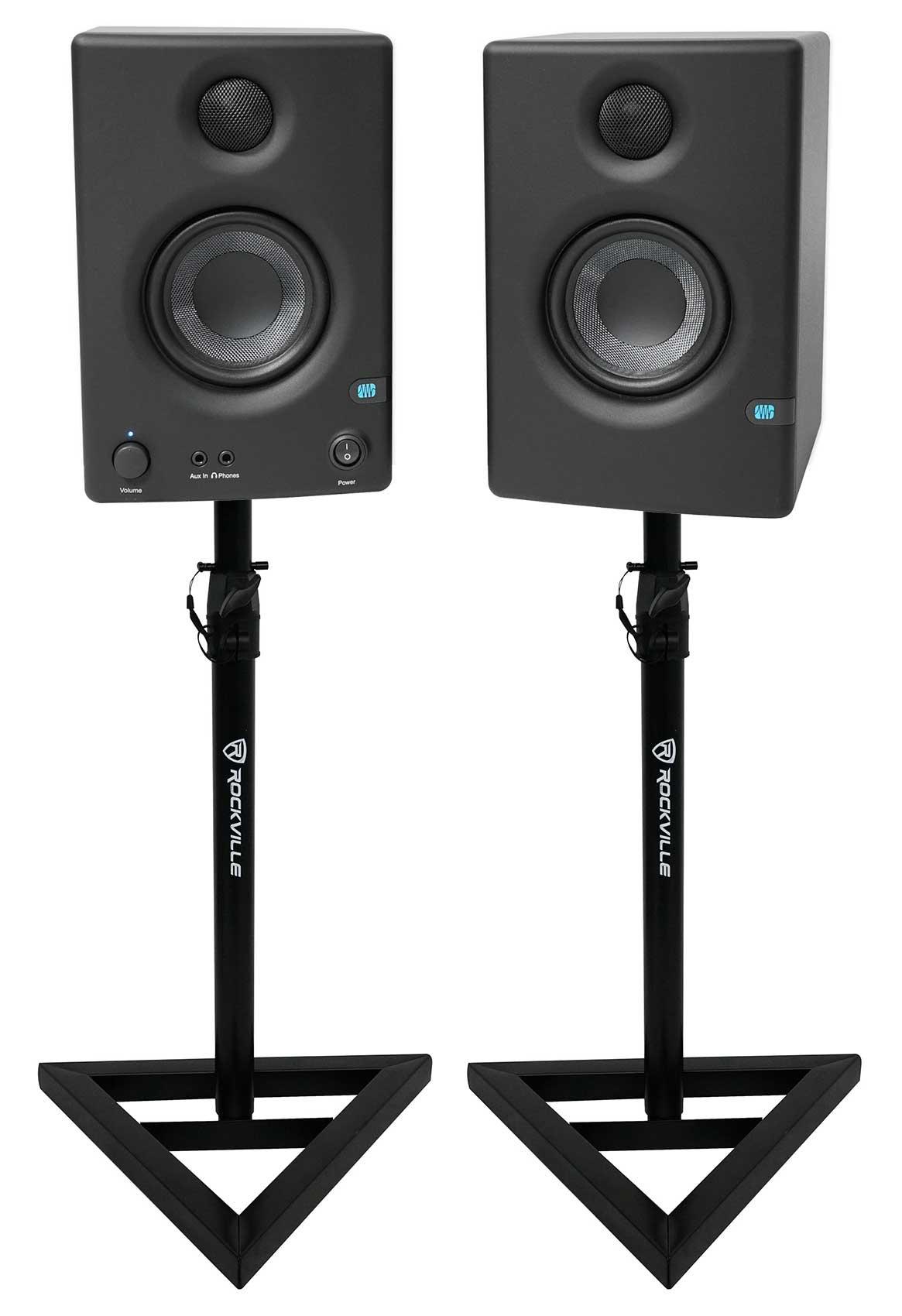 Pair Presonus Eris E3.5 3.5'' Powered Active Studio Monitor Speakers+Stands