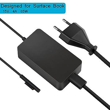 Uhomely Cable de Carga de Superficie Accesorios de Libro Adaptador de Cargador de Corriente de 65W 15V 4A para Surface Book Surface Pro 3 Pro 4 Fuente ...