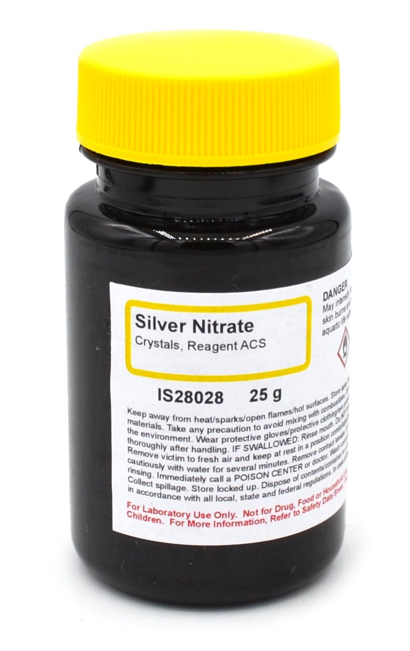 ACS-Grade Silver Nitrate Reagent Crystals, 25g - The Curated Chemical Collection
