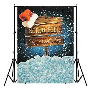 MASUNN 5X7Ft Navidad Polo Norte Santa Hat Delgada Fotografía ...