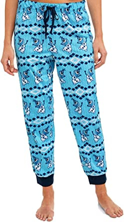 Disney Womens Juniors Frozen Olaf Cuffed Sleep Pants