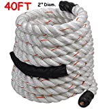 2'' Poly Dacron 40ft/White Battle Rope Workout Strength Training Undulation TKT-11
