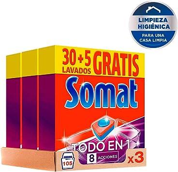Somat Pastillas Lavavajillas Todo en 1 – Pack de 3, Total: 105 ...