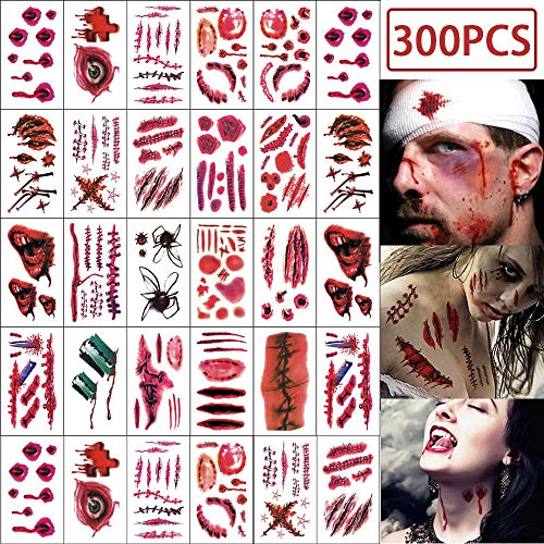 Horror Face Makeup (CQI Halloween Temporary Tattoos - 40 Sheets Realistic Fake Bloody Wound Scab Horror Body Face Decals Vampire Costume Makeup Cosplay Zombies Party Supplies)