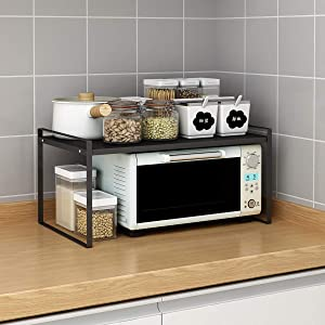 "Microwave Oven Stand, Toaster Rack, Spice Organizer Shelf for Kitchen Bathroom Storage, 2-Tier (Medium 20""X12""X9.5"")"