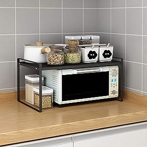 """Microwave Oven Stand, Toaster Rack, Spice Organizer Shelf for Kitchen Bathroom Storage, 2-Tier (Medium 20""""X12""""X9.5"""")"""