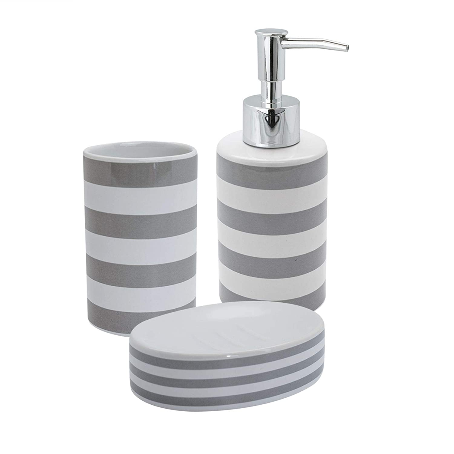 Harbour Housewares 3 Piece Bathroom Accessory Set - Soap Dispenser/Dish / Tumbler - Grey Stripe