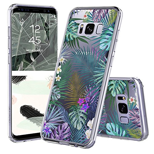 Galaxy S8 Case, Galaxy S8 Case for Women, MOSNOVO Tropical Palm Tree Leaves Clear Design Printed Transparent Plastic Back Case with TPU Bumper Protective Cover for Samsung Galaxy S8 - Palm Tree Transparent