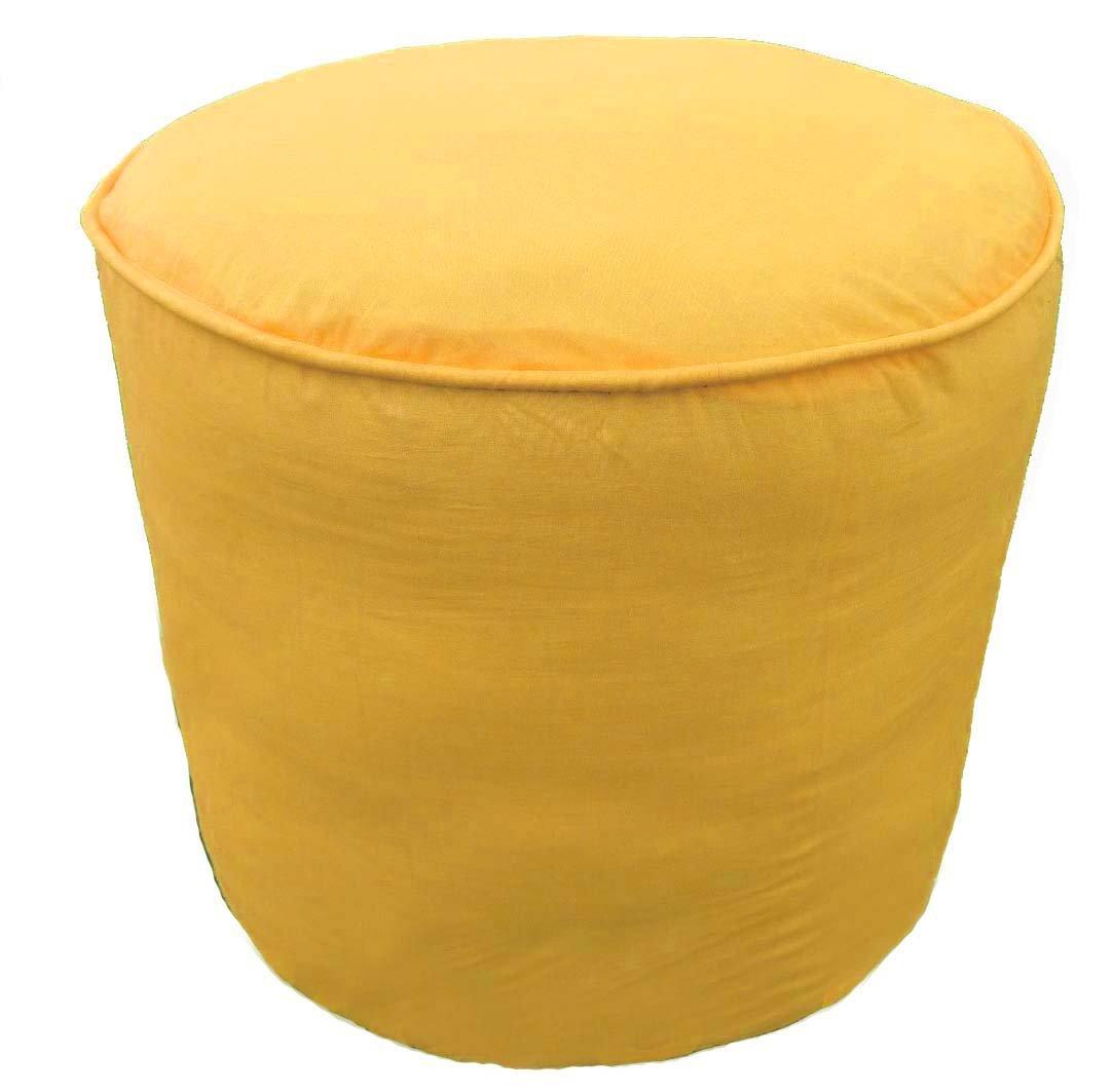 19.1 Wx16 H, Orange Saffron 100/% Cotton Plain Piping Round Ottoman Throw Pouf Cover