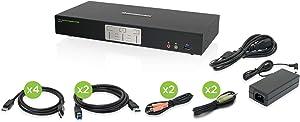 IOGEAR 2-Port 4K Dual View DisplayPort KVMP with USB 3.0 Hub and Audio (GCS1942)