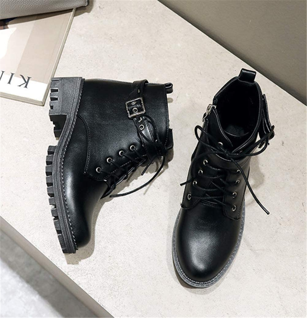 Womens Low Heel Ankle Boots Block Lace up Zip Chelsea Flat Ladies Biker Winter Booties Shoes Size 3 4 5 6 7 9 Black