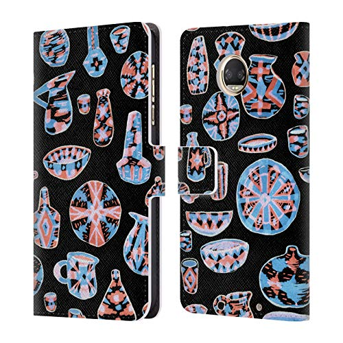 Official Amanda Laurel Atkins Pottery Neon Patterns Leather Book Wallet Case Cover Compatible for Motorola Moto Z2 Play