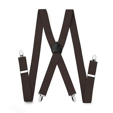 35mm Wide Mens Trouser Clip On  X Shape Adjustable Elastic Red Braces Suspenders
