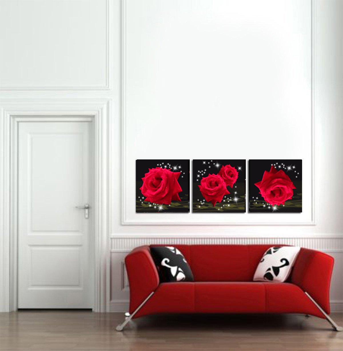 Mon Art Love Of Red Roses Modern Decorative Wall Canvas Set Of 3(UnStretched and UnFramed) by Mon Art (Image #3)