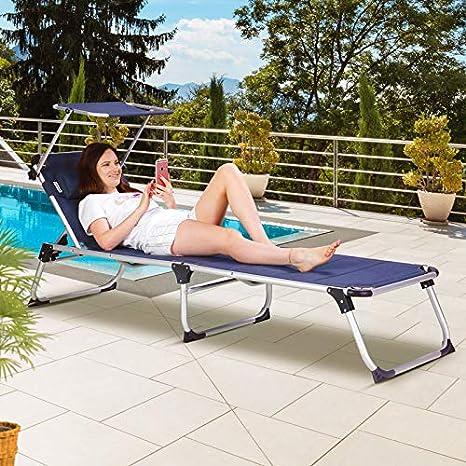 Blue Casaria Sun Lounger Bari Padded Folding 210cm Garden Patio Aluminium