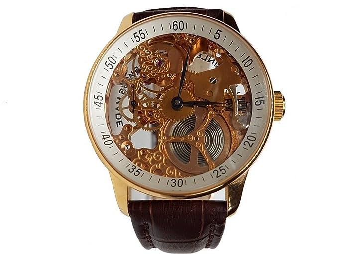 Zeno-Watch Reloj Mujer - X-Large Retro Skeleton Retro gold plated - P558