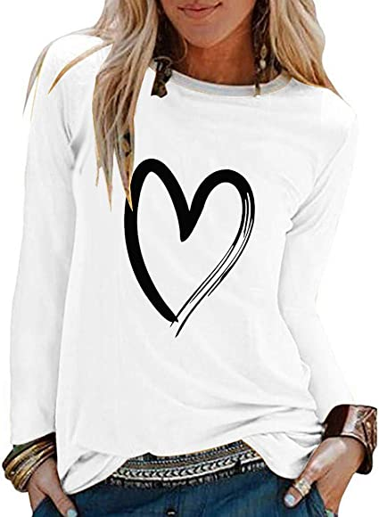 Sudadera Basica Invierno Mujer 2019SUNNSEAN Otoño Invierno Blusa para Mujer Blusa túnica Casual Color Sólido Camisa Básica Camisa Blusas con Mangas Largas Corazón Impreso Sudadera Túnica: Amazon.es: Instrumentos musicales