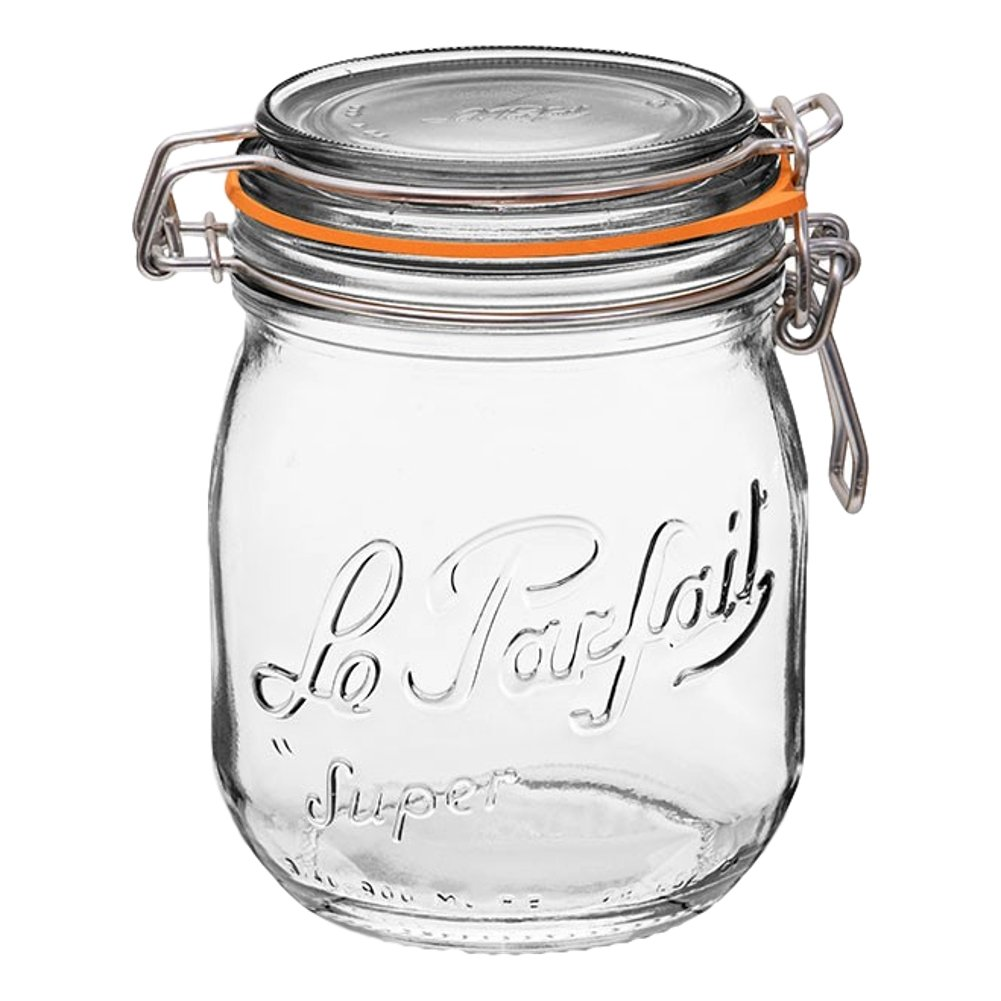 1 Le Parfait Super Jar - New Stainless Steel Wire - Wide Mouth French Glass Preserving Jar with Rounded Body, Glass Lid and Natural Rubber Seal - Zero Waste Packaging (1, 750ml - 24oz - SS)
