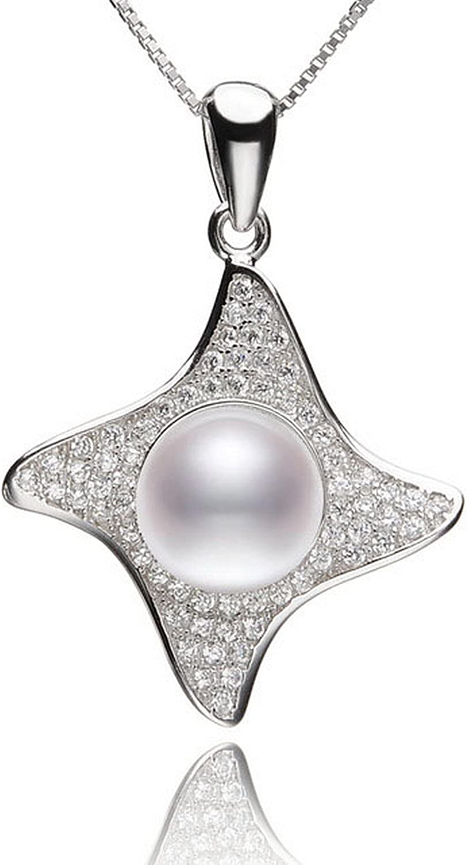 CS-DB Pendants Black Color Pearl Silver Necklaces