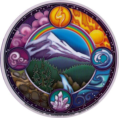 Rainbow Mountain - Environmental Window Sticker / Decal - Mandala Arts Circular 4.5