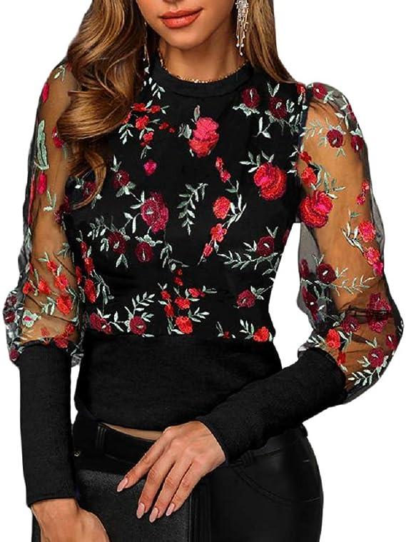 Women See-through Sheer Mesh Dot Blouse Puff Long Sleeve T-shirt Tops Shirts UHC